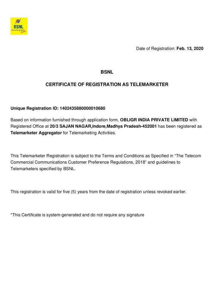 Obligr BSNL TRAI Certificate