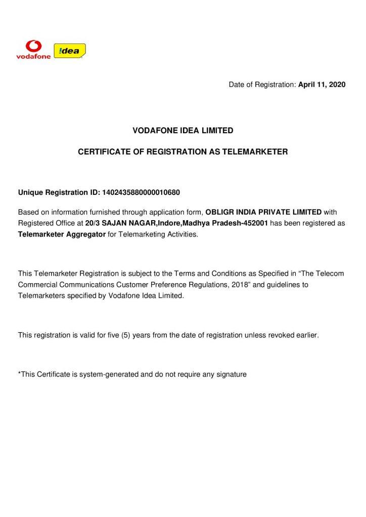 Obligr VODAFONE IDEA TRAI Certificate